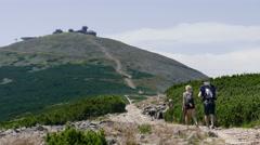 Snezka or Sniezka mountain. Karkonosze, Krkonose National Park Stock Footage