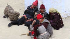 Tibetan old women spectators during mystery dance in Lamayuru, Ladakh, India Stock Footage