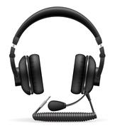 acoustic headphones with microphone illustration - stock illustration