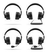 set icons acoustic headphones illustration - stock illustration
