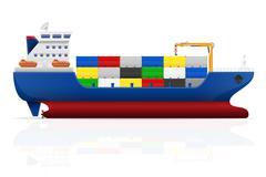 nautical cargo ship illustration - stock illustration