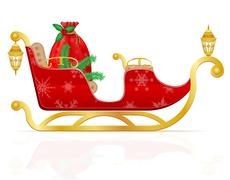 red christmas sleigh of santa claus with gifts illustration - stock illustration