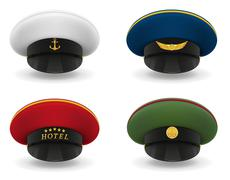 set icons professional uniform caps illustration - stock illustration