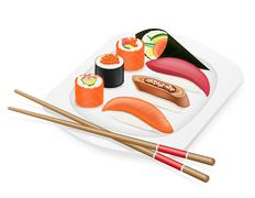 diverse set of sushi with chopsticks on a plate illustration - stock illustration