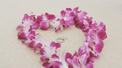 Wedding rings beach love concept Stock Footage