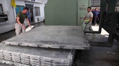 Thailand, US Soldiers Load Metal Tiling Stacker - stock footage