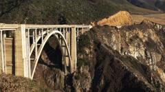 Bixby bridge close up pan Stock Footage