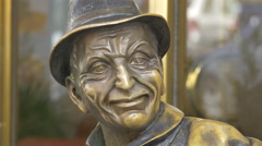 Old man statue in Prague Stock Footage