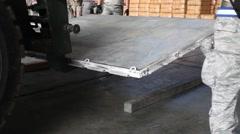 Thailand, US Stacker Unload Metal Tiling - stock footage