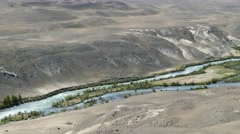 Chuya River Valley landscape, Altai, 4k - stock footage