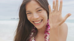 Engagement ring woman on beach showing happy - stock footage