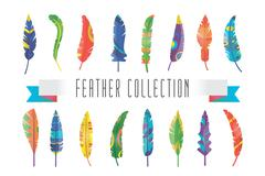 Feathers vector silhouette set Stock Illustration