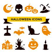 Halloween vector icons set - stock illustration