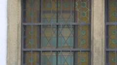 Painted glass window at Klausen Synagogue in Prague Stock Footage