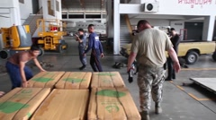 Thailand, US Air Force  US Soldier Volunteers Load Supply For Air Drop - stock footage