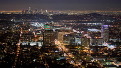 4K Time Lapse of Los Angeles Night Traffic From High View Point Stock Footage