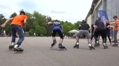 Skaters start at the line and leaves quickly stadium. 4K Stock Footage