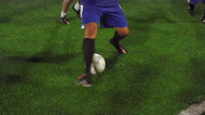 Stock Video Footage of Close up of a soccer player dribbling and making a goal