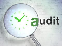 Business concept: Clock and Audit with optical glass Stock Illustration