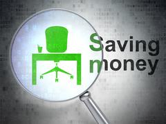 Business concept: Office and Saving Money with optical glass Stock Illustration