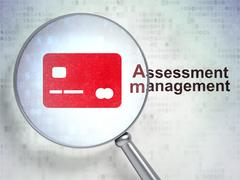 Finance concept: Credit Card and Assessment Management with optical glass - stock illustration