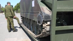 Military vehicle light tank and soldiers. 4K Stock Footage