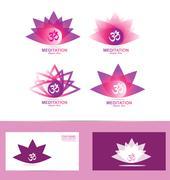 Lotus flower aum symbol logo icon Stock Illustration