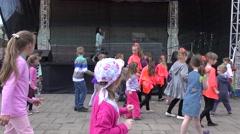 Kids repeat line flashmob dance step. 4K Stock Footage