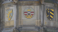 Czech Coat of Arms on the Old Town Hall in Prague Stock Footage