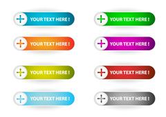 Plus web menu buttons set Stock Illustration