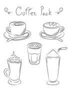 Hand drawn coffe cup set Stock Illustration
