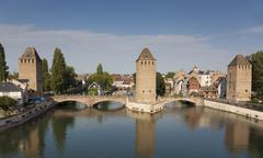 Covered bridge, in the petite france, Strasbourg, Bas-Rhin, Alsace, France. Stock Photos