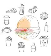 Hand drawn fast food black and white and water color - stock illustration