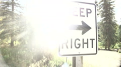 Keep right sign road forest Stock Footage