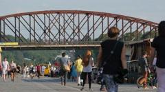 People walking near Železniční most in Prague Stock Footage