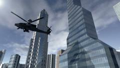 Animated modern city with a helicopter 4K Stock Footage