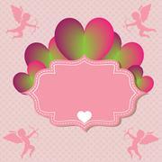Heart on soft pink pattern backround - stock illustration