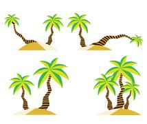 Coconut tree on sand - stock illustration