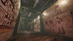 Animated tomb with old wallpaintings in ancient Egypt 4K Stock Footage