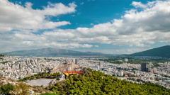 Athens - Panoramic view from Lycabettus hill Stock Footage