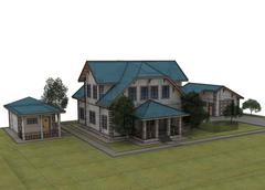 Stock Illustration of Render 3d cottage with a blue roof