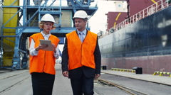Woman Manager and Engineer in Hard Hats are Talking in Cargo Harbor - stock footage