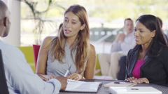 4k Confident business group in negotiation meeting shake hands on a deal - stock footage