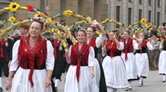 Slow Motion Oktoberfest Munich Beer Festival Parade Brass music Flag waving Stock Footage
