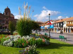 Greenery of Plaza de Armas in Cusco - stock photo