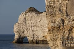 Cliff in Etretat, Cote d'Albatre, Pays de Caux, Seine-Maritime department, Up Stock Photos
