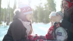 Warm Relationship in Cold Winter Stock Footage