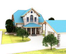 Render 3d cottage with a blue roof Stock Illustration