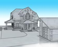 Render 3d cottage with a blue roof - stock illustration