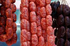 Stock Photo of Beef and pork sausages of various Smoking